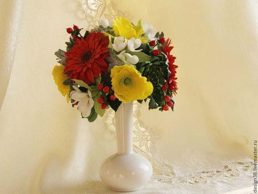 Статуэтки ручной работы. Ярмарка Мастеров - ручная работа. Купить Букет цветов из полимернй глины. Handmade. Разноцветный, букет невесты