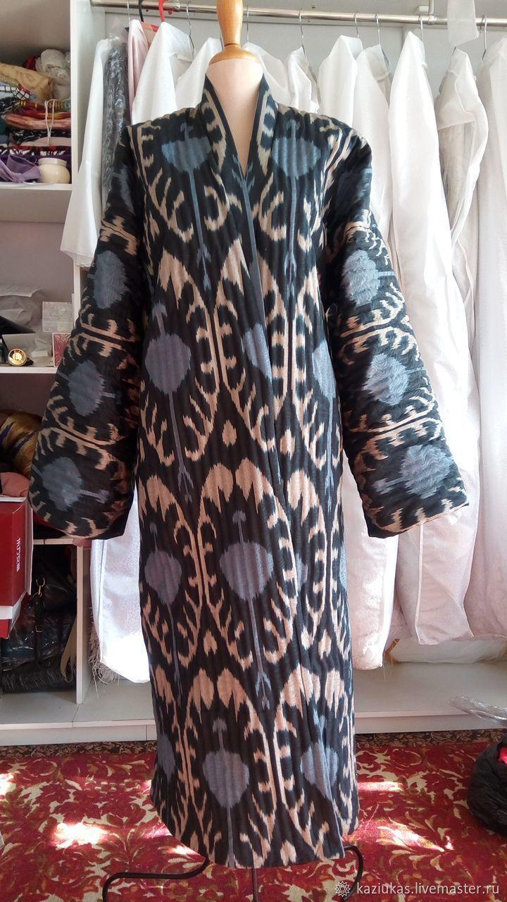 Silk quilted coat of ikat. Uzbek chapan. boho coat, Coats, Odintsovo,  Фото №1