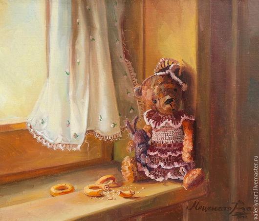 Натюрморт ручной работы. Ярмарка Мастеров - ручная работа. Купить Мишка Милли. Тихий час. Картина маслом.. Handmade. портрет