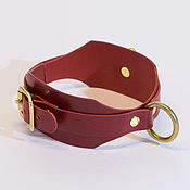 Субкультуры handmade. Livemaster - original item Red leather choker with ring, BDSM leather collar. Handmade.