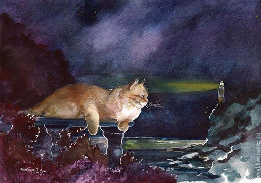 Пейзаж ручной работы. Ярмарка Мастеров - ручная работа. Купить Картина акварелью с котом Мечты в ночи. Handmade. Тёмно-синий