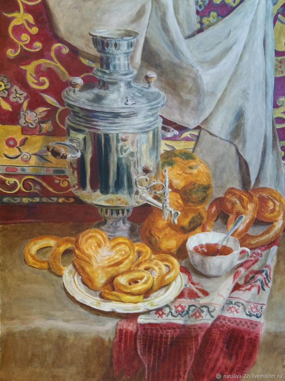 Чайное настроение, бумага, акварель, Картины, Москва,  Фото №1