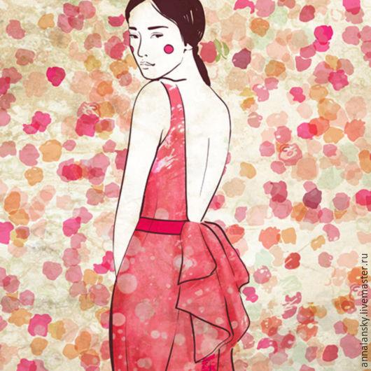 Люди, ручной работы. Ярмарка Мастеров - ручная работа. Купить Розовый туман. Пано, картина на холсте. Авторский принт. Handmade.