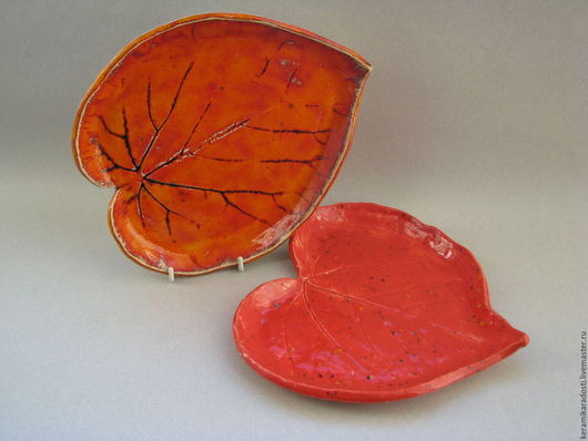 """Тарелки ручной работы. Ярмарка Мастеров - ручная работа. Купить Тарелки """"Яркие листья"""". Handmade. Рыжий, для сервировки стола"""