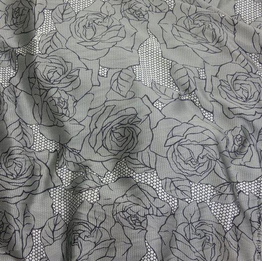"""Шитье ручной работы. Ярмарка Мастеров - ручная работа. Купить Шелк """"Розы"""" (черный,серый). Handmade. Серебряный, шелк"""