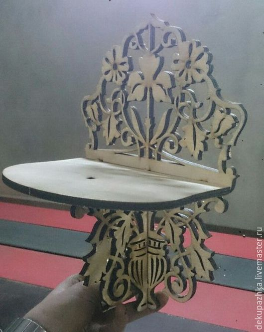 Мебель ручной работы. Ярмарка Мастеров - ручная работа. Купить Полочка на стену. Handmade. Бежевый, резная полка, для цветов, на подарок