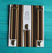 Аксессуары handmade. Livemaster - original item Men`s brown suspenders 35 mm wide Elastis / chocolate wedding. Handmade.