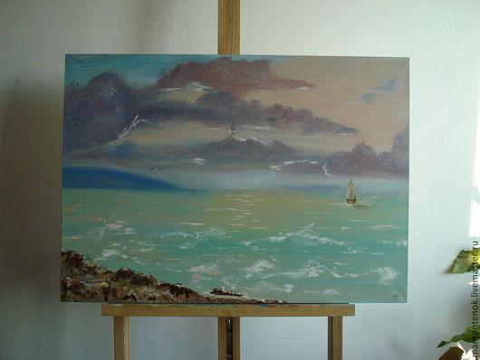 """Пейзаж ручной работы. Ярмарка Мастеров - ручная работа. Купить Картина маслом """"Странное время суток"""". Handmade. Море, гостинная"""