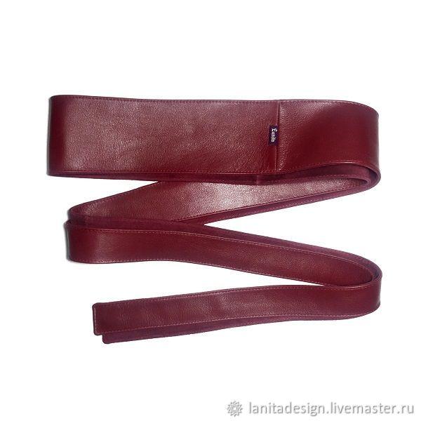 Кожаный пояс кушак Double Bordo от Lanita Design. Ручная работа. Ярмарка Мастеров.