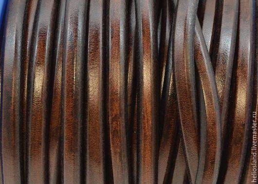 Для украшений ручной работы. Ярмарка Мастеров - ручная работа. Купить Кожаный шнур REGALIZ коричневый винтаж. Handmade. Регализ