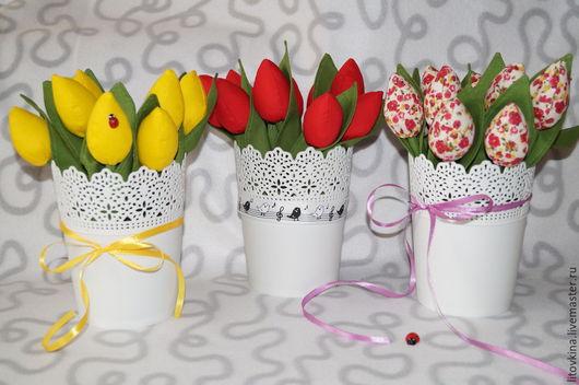 Персональные подарки ручной работы. Ярмарка Мастеров - ручная работа. Купить тюльпаны из ткани. Handmade. Ярко-красный, Праздник, сюрприз