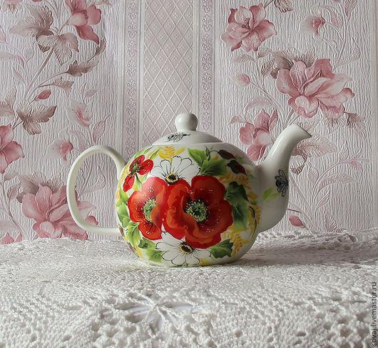 """Чайники, кофейники ручной работы. Ярмарка Мастеров - ручная работа. Купить Заварочный чайник с росписью """" Маков цвет"""". Handmade."""