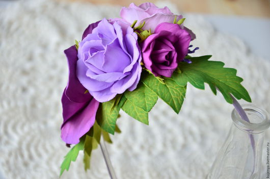 """Диадемы, обручи ручной работы. Ярмарка Мастеров - ручная работа. Купить Ободок с розами """"Яркое настроение"""". Handmade. Сиреневый"""