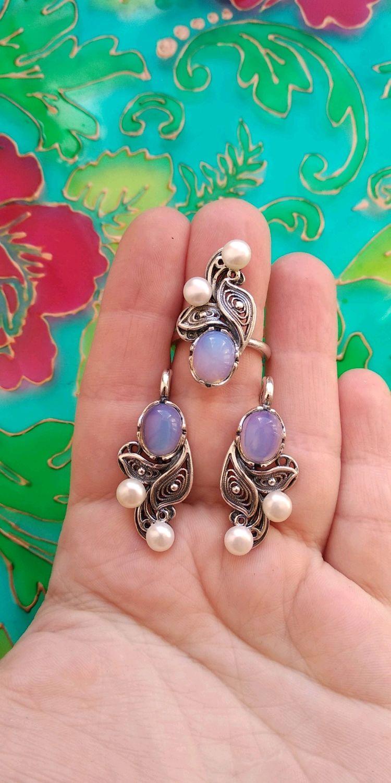 550 RESERVA Kit plateado pendientes y anillo con perlas y piedras, Jewelry Sets, Ivanovo,  Фото №1