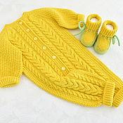 handmade. Livemaster - original item Knitted jumpsuit with booties. Merino 100%. Handmade.