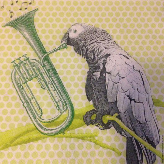 Салфетка для декупажа - Попугай играет на трубе - сюжетная салфетка Декупажная радость