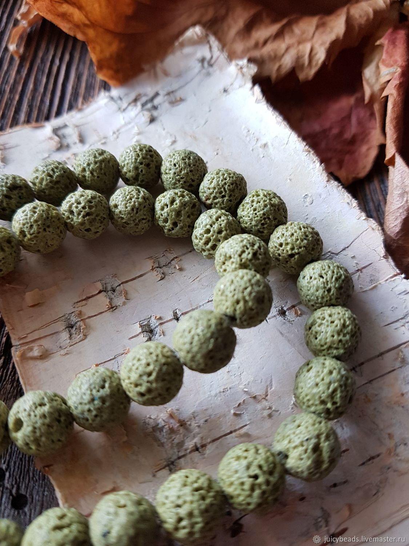 Лава бусины 10 мм тонированные цв.оливковый, Бусины, Екатеринбург,  Фото №1