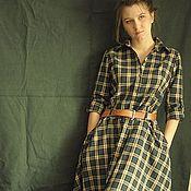 Одежда ручной работы. Ярмарка Мастеров - ручная работа Прогулочное платье-рубашка в изумрудную клетку.. Handmade.