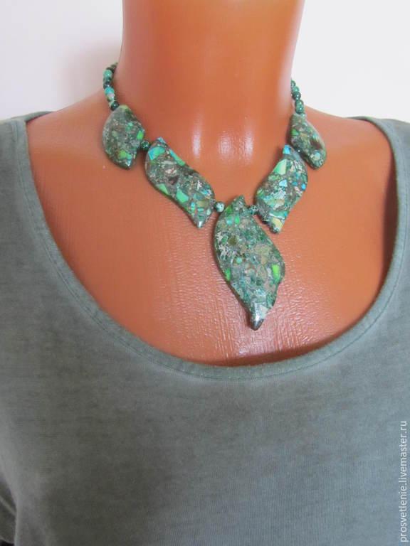 Necklace made of natural stones, necklaces of variscite, elegant necklace, original necklace, woman gift, decoration from natural stones, original decoration under a green dress, necklace, decoration