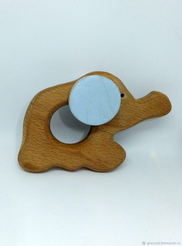 Handmade Natural Wood Animal Baby Teether Teething Toy Gift Elephant Pendant