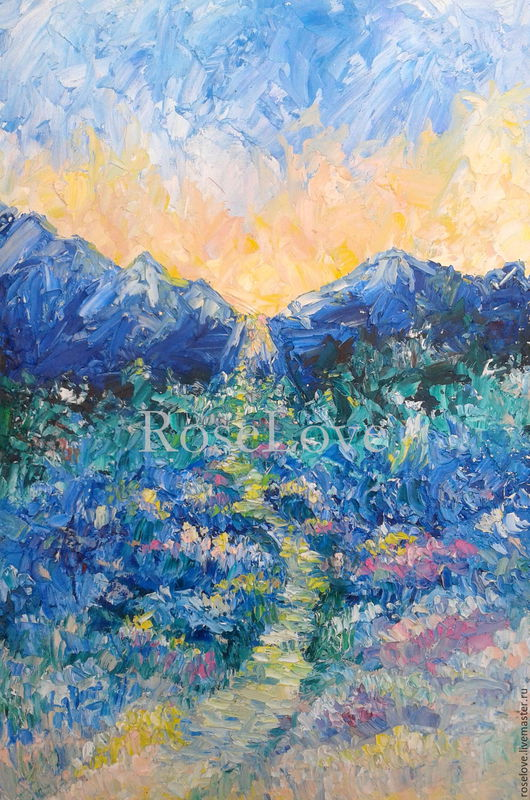 Картина «Путь домой..»(Масло,30*40) Катерины Аксеновой.картина путь,картина дорога, картина путь к себе,пейзаж,горы,свет,купить дорогую картину маслом,пейзажи на холсте,купить картину маслом дорога,ку