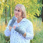 Аксессуары handmade. Livemaster - original item Mitts: Stylish Knitted Downy mitts for women. Handmade.