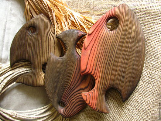 Элементы интерьера ручной работы. Ярмарка Мастеров - ручная работа. Купить рыбы интерьерные. Handmade. Комбинированный, море, тарелка из дерева