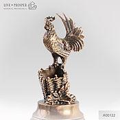 Материалы для творчества handmade. Livemaster - original item Bronze Cock on a plate of marble - pen-holder. Handmade.