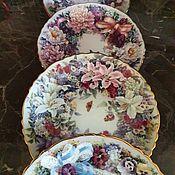 Винтаж handmade. Livemaster - original item Porcelain plates. Floral Greetings.  Lena Liu.. Handmade.