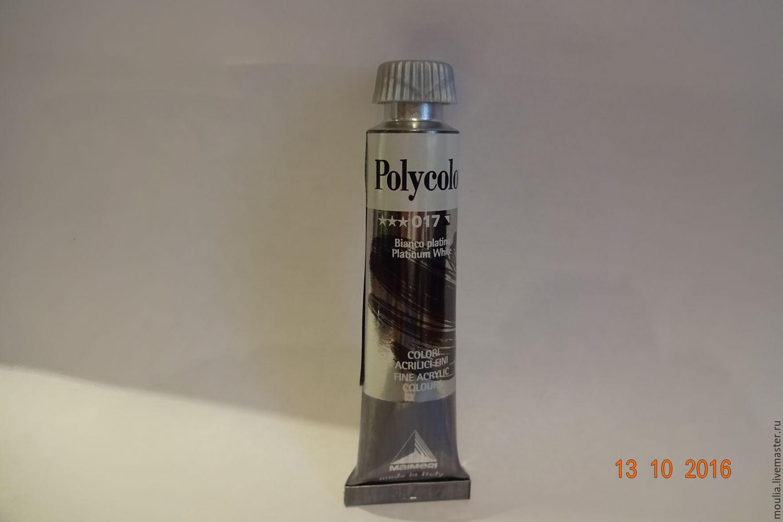 Акриловая краска  Maimeri  Polycolor, 20мл арт 1202017 белила платиновые(перламутр).  2/0+