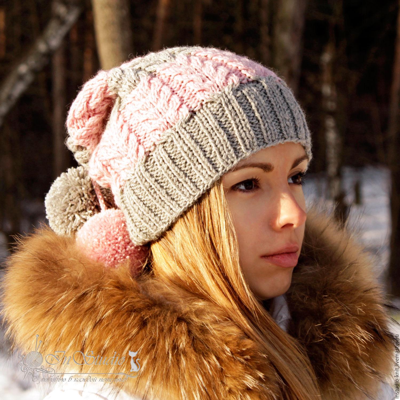 шапка вязаная женская с помпонами серая с розовым купить в
