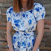 """Одежда ручной работы. Ярмарка Мастеров - ручная работа Женственная блуза из стрейч-коттона """"Голубые розы"""" блуза с поясом. Handmade."""