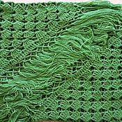 Аксессуары handmade. Livemaster - original item Shawl Crocheted SARAH 220*105 cm Triangular with Tassels #001. Handmade.