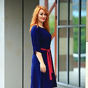 Одежда handmade. Livemaster - original item 20% discount!!! viscose dress with contrast waistband blue. Handmade.