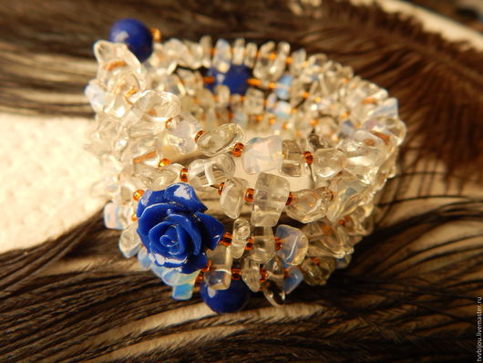 """Браслеты ручной работы. Ярмарка Мастеров - ручная работа. Купить Браслет """"Синяя роза"""". Handmade. Синий, акриловые бусины"""