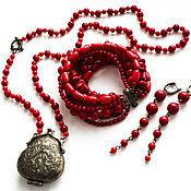 Украшения ручной работы. Ярмарка Мастеров - ручная работа Сотуар винтажный из красного коралла. Handmade.