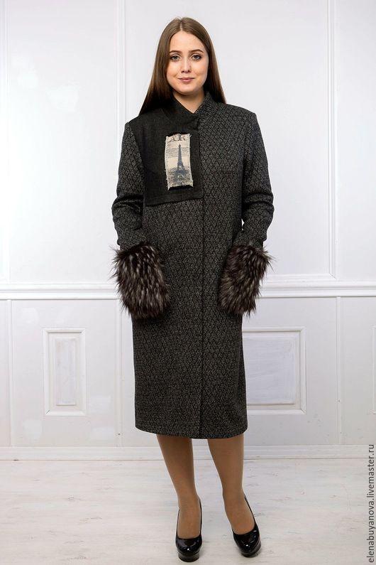 Верхняя одежда ручной работы. Ярмарка Мастеров - ручная работа. Купить Пальто с меховыми карманами. Handmade. Темно-серый, тренд