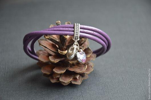"""Браслеты ручной работы. Ярмарка Мастеров - ручная работа. Купить Кожаный браслет """"Ежевичка"""". Handmade. Браслет, стильный браслет, фиолетовый"""