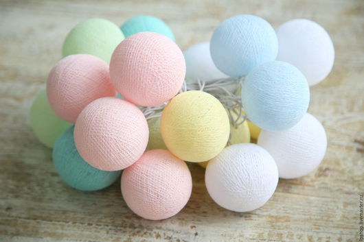 Детская ручной работы. Ярмарка Мастеров - ручная работа. Купить Гирлянда из хлопковых шариков бэйби. Handmade. Комбинированный, гирлянда для фотосессии