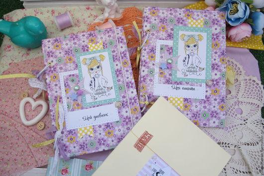 Блокноты ручной работы. Ярмарка Мастеров - ручная работа. Купить Набор: анкета для друзей, дневник для девочки и конверт с мелочами. Handmade.