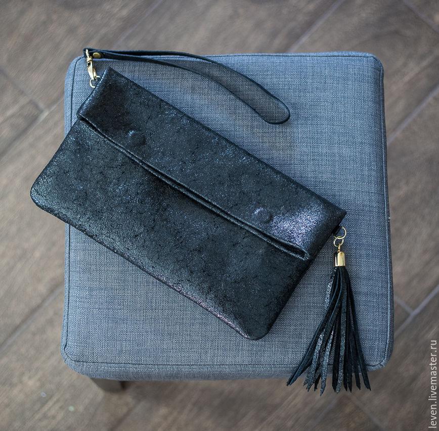 97e9a3a7332f Женские сумки ручной работы. Ярмарка Мастеров - ручная работа. Купить  Кожаный клатч из темно ...