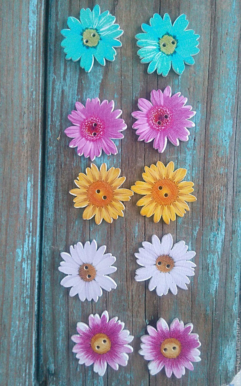 Упаковка ручной работы. Ярмарка Мастеров - ручная работа. Купить Пуговицы декоративные деревянные 35 мм цветок гербера. Handmade.