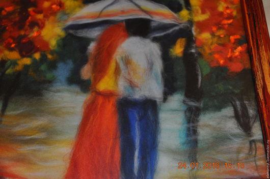 """Пейзаж ручной работы. Ярмарка Мастеров - ручная работа. Купить Шерстяная акварель """"Двое под дождем"""". Handmade. Комбинированный"""
