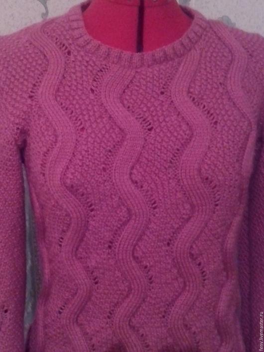 Кофты и свитера ручной работы. Ярмарка Мастеров - ручная работа. Купить Пуловер. Handmade. Фуксия, пуловер с косами, свитер спицами