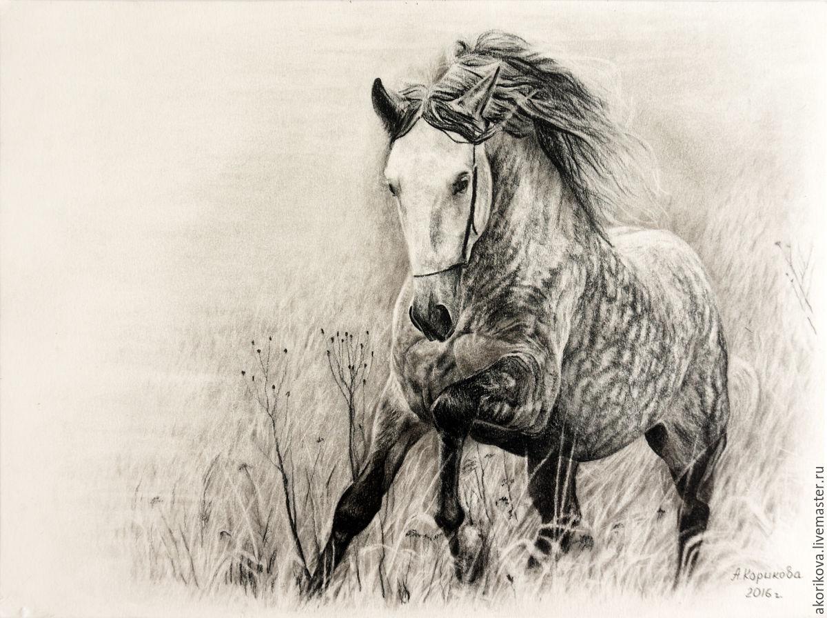Рисунок угольным карандашом `Орловский рысак`
