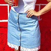 Одежда ручной работы. Ярмарка Мастеров - ручная работа Юбка джинсовая IvaPolina. Handmade.