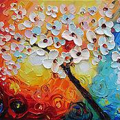 Картины и панно handmade. Livemaster - original item Oil painting on the motive of the Internet Flowering tree. Handmade.