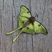Украшения handmade. Livemaster - original item Brooch leather Butterfly Saturnia Luna. Handmade.