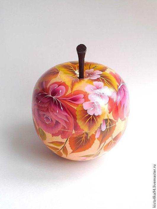 деревянная шкатулка с росписью в форме большого яблока отличное украшение интерьера оригинальный подарок маме дочери подруге бабушке на 8 марта день рождения на любой случай как шкатулка для украшений