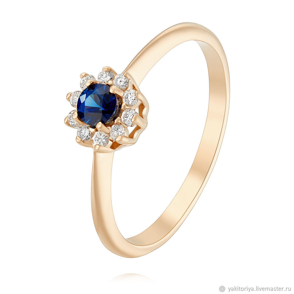 585 gold ring with sapphire and diamonds, Rings, Moscow,  Фото №1